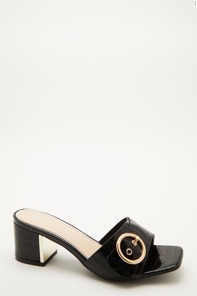 Wide Fit Black Mule Heeled Sandal